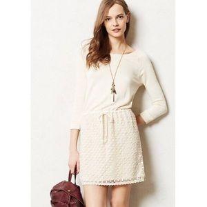 ANTHROPOLOGIE Crochet Lace Sweatshirt Dress